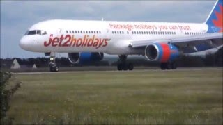 Jet2 holidays 757,  G-LSAK LANDING AND TAKEOFF AT LBA  30/MAY 2015