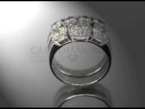 Complex stone ring,two bands, round diamonds,band with 4 smaller diamonds,engagement ring