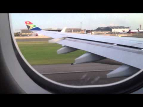 South Africa Airways – Take off from Johannesburg to Hong kong.