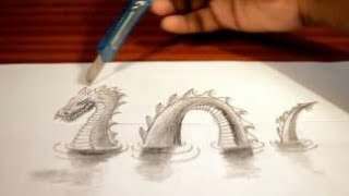 How to Draw an amazing 3D painting - 3D Dragon Optical Illusion