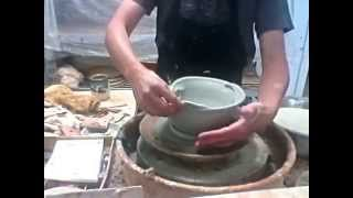 Pottery: Altering a thrown bowl to make a beautiful FLOWER