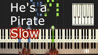 Pirates Of The Caribbean - He's a Pirate - Piano Tutorial Easy SLOW - How To Play (Synthesia)