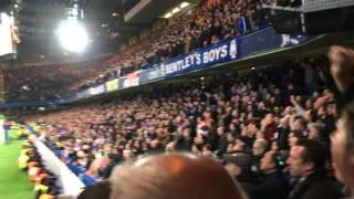 Chelsea fans celebrate Leicester winning the Premier League (vs Tottenham) width=