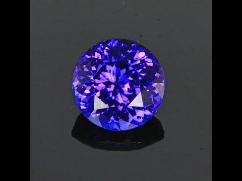Blue VIolet Round Tanzanite Gemstone 3.34 Carats