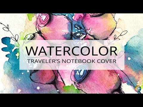 watercolor painting and doodling on Traveler's Notebook