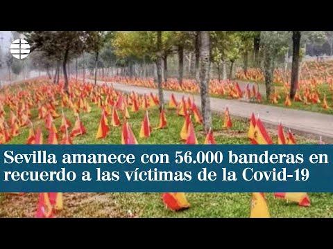 Sevilla amanece con 56.000 banderas de España en recuerdo a víctimas de la Covid-19