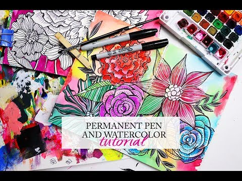 permanent pen and watercolor tutorial