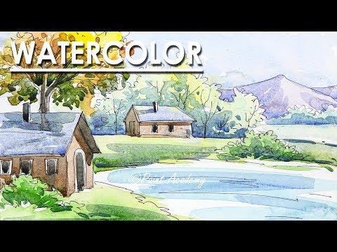Easy Line & Wash Watercolor Landscape Painting