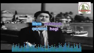 mere mehboob qyamath  Hindi karaoke for Male singers with  lyrics