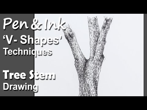 Pen & Ink : Tree Drawing in V-shapes & Random Lines Technique | step by step