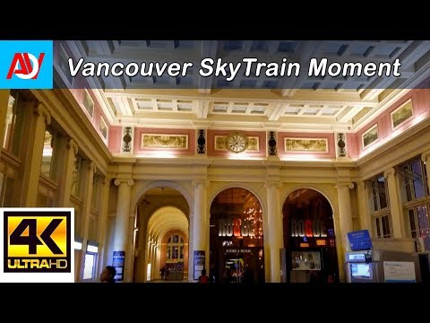 Vancouver SKYTRAIN: WATERFRONT STATION Interior, Night - 4K