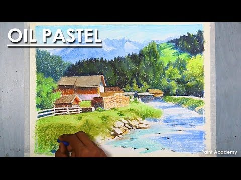 Oil Pastel Landscape Drawing | How to Draw A Mountain Scene with Flowing River