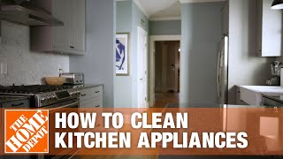 A video details how to clean kitchen appliances.
