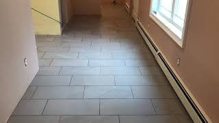 12x24 tile installed on a 1/3 offset pattern installed over ditra xl