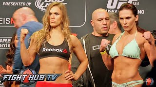 RONDA ROUSEY VS. CAT ZINGANO - FULL VIDEO- UFC 184 FULL WEIGH IN + FACE OFF