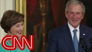 Bush's humorous return to White House width=