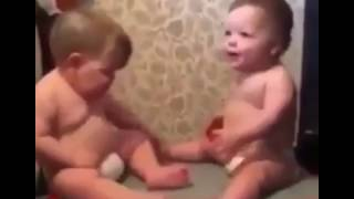 So funny Two Fat babies vibrating on a massager