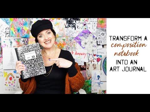 transform a composition notebook into an art journal