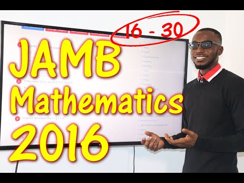 JAMB CBT Mathematics 2016 Past Questions 16 - 30