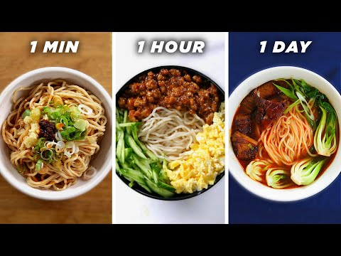 1 Minute Vs. 1 Hour Vs. 1 Day Noodles ? Tasty