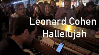 Crowd sings Hallelujah by Leonard Cohen in Union Square NYC