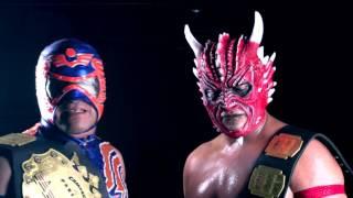 Drago y Aerostar backstage de Héroes Inmortales X