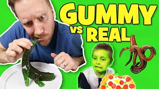 Gummy Food vs Real Food Challenge!! Kids Eat Worms & Giant Gummy Candy!!