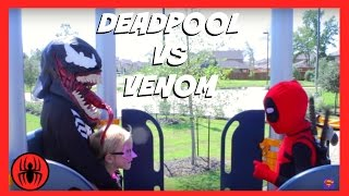 Little Heroes Kid Deadpool vs Venom Superheroes in Real Life | SuperHero Kids Fight Water Park Movie