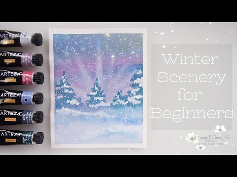 Easy Watercolor Christmas Trees Painting / Snowy Winter Scenery ♡ Maremi's Small Art ♡