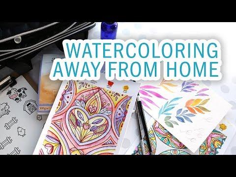 TRAVEL VLOG – Packing crafting supplies, NEW Watercolor Coloring Sheets, Visiting Lawn Fawn