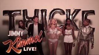 """Jimmy Kimmel and Guillermo in """"Blurred Lines"""" (feat. Robin Thicke and Pharrell)"""