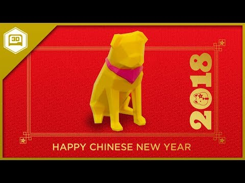 Happy Chinese New Year! Low-Poly Pug by @FLOWALISTIK - 3D Printing Timelapse