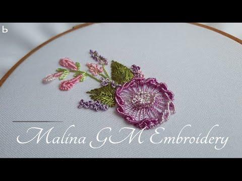 Dimensional Flowers mix simple stitches Lazy Daisy & Cfast-on & Bullion