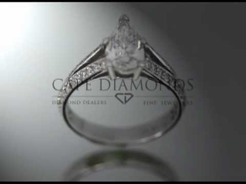 Simple side stone ring,pear shaped diamond,small diamonds on band,platinum,engagement ring