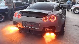 Widebody Nissan GT-R Launch Control FLAMES sets off Car Alarm!