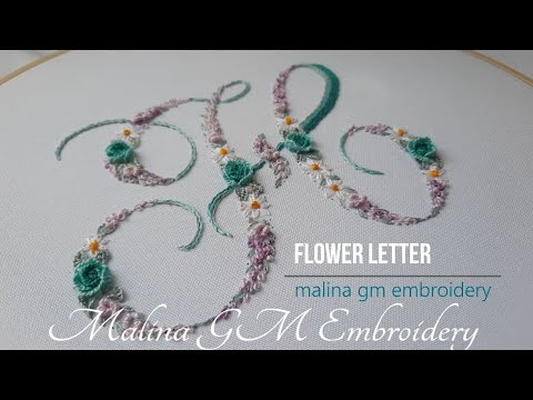Flower letter H   Floral embroidery   simple stitches