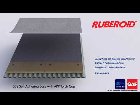 Ruberoid SBS Self-Adhering Base with APP Torch Cap by GAF