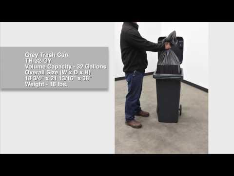 Grey Trash Can TH-32-GY