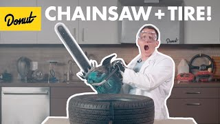 We Chainsaw a Tire! - TIRES - How they Work | Science Garage
