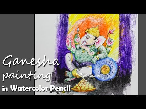 Lord Ganesha Painting in Watercolor Pencil | step by step Drawing & Painting