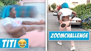 SHE DID THE ZOOM CHALLENGE ON CONCRETE 😂TITI ZOOM CHALLENGE FAIL