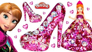 How to Make Play Doh Super Sparkle Dress and Shoes High Heels with Glitter for Princess Anna DIY