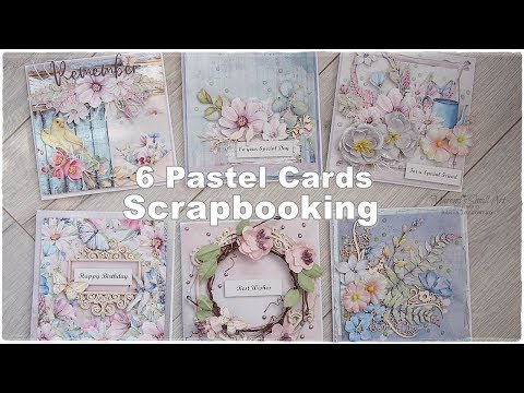 6 Pastel Scrapbooking Cards Class ♡ Maremi's Small Art ♡