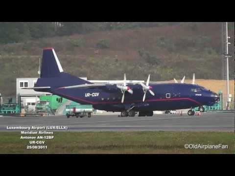 Meridian Airlines Antonov AN-12 taxiing & Take Off at Luxembourg Airport (HD)