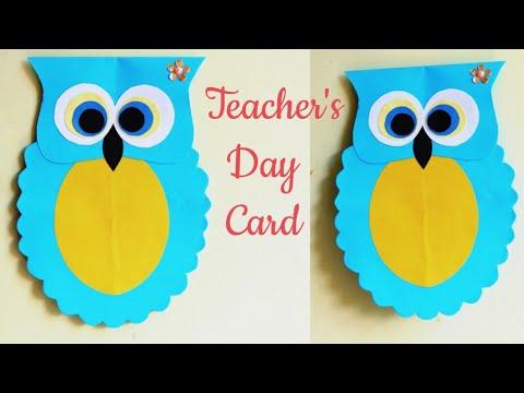 Making a joke of teachers day card at homemade