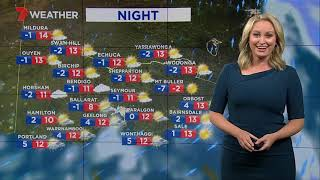 Still cold in Melbourne tomorrow with a top of 12. Grey skies, possible drizzle.