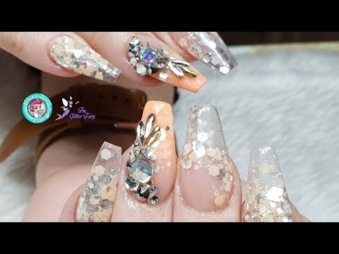 Acrylic Nails - Crystal Clear Tips - Glitter Trails & Fades - Swarovski Crystal Cluster