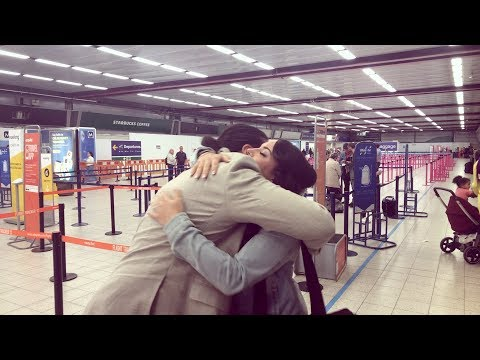 Groom surprises bride at London Luton Airport