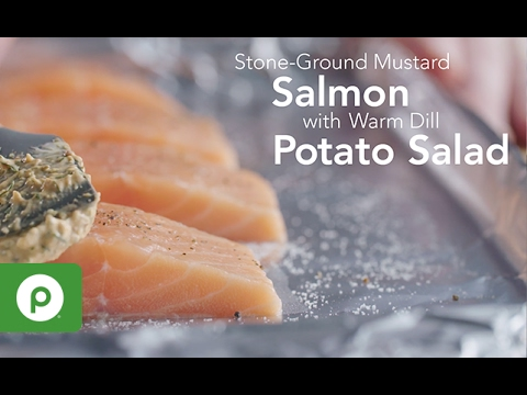 Stone-Ground Mustard Salmon with Warm Dill Potato Salad. A Publix Aprons recipe.