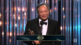 """Ang Lee winning the Oscar® for Directing """"Life of Pi"""""""